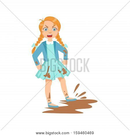Girl Doing Splash In Mud Puddle Teenage Bully Demonstrating Mischievous Uncontrollable Delinquent Behavior Cartoon Illustration. Cute Big-Eyed Child Vector Character Behaving Aggressively And Bullying Other Children.