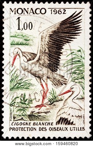 LUGA RUSSIA - NOVEMBER 29 2016: A stamp printed by MONACO shows white stork (Ciconia ciconia) - a large bird in the stork family Ciconiidae circa 1962