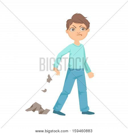 Boy Littering Teenage Bully Demonstrating Mischievous Uncontrollable Delinquent Behavior Cartoon Illustration. Cute Big-Eyed Child Vector Character Behaving Aggressively And Bullying Other Children. poster