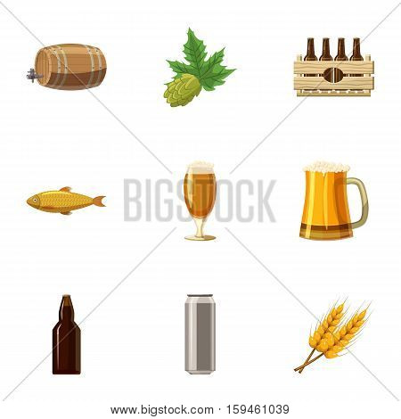 Folk festival of beer icons set. Cartoon illustration of 9 folk festival of beer vector icons for web