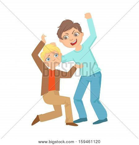 Boy Beating Up Smaller Kid Teenage Bully Demonstrating Mischievous Uncontrollable Delinquent Behavior Cartoon Illustration. Cute Big-Eyed Child Vector Character Behaving Aggressively And Bullying Other Children.