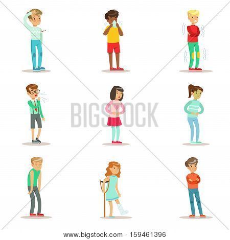Sick Children Feeling Unwell Suffering From Sickness Or Injury Needing Healthcare Medical Help Set Of Cartoon Characters. Kids With Health Damage Or Illness Showing The Symptoms Vector Illustrations.