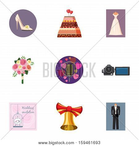 Marriage icons set. Cartoon illustration of 9 marriage vector icons for web