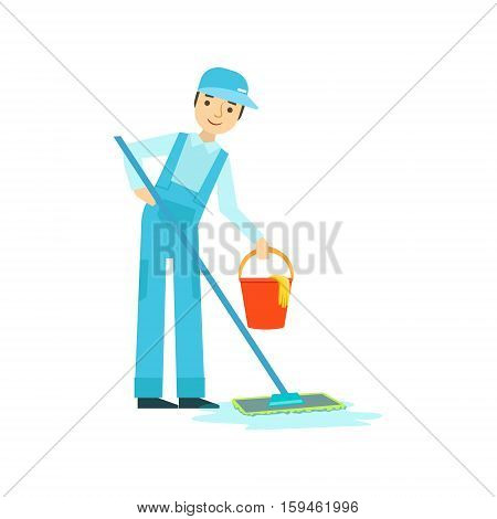 Man With Mop And Bucket Washing The Floor, Cleaning Service Professional Cleaner In Uniform Cleaning In The Household. Person Working In Housekeeping At Work Doing Clean Up Vector Illustration.