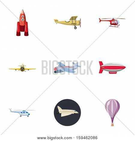 Flying device icons set. Cartoon illustration of 9 flying device vector icons for web