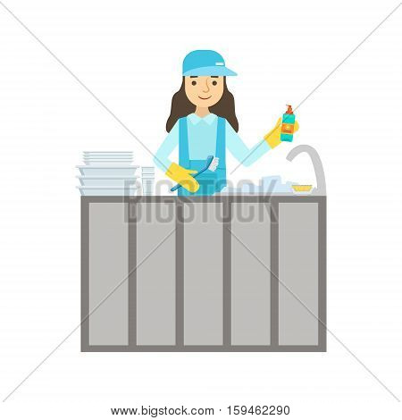 Girl Washing Dishes In The Tap, Cleaning Service Professional Cleaner In Uniform Cleaning In The Household. Person Working In Housekeeping At Work Doing Clean Up Vector Illustration.