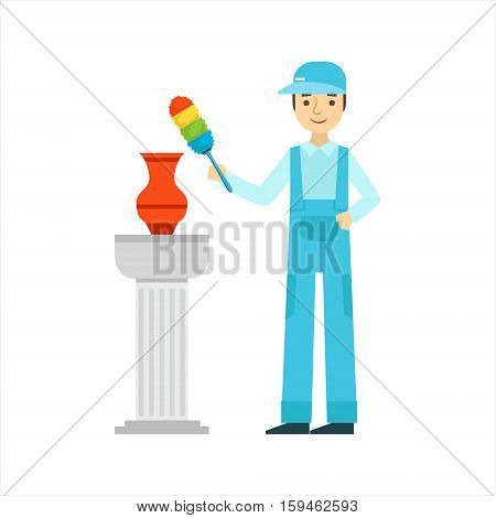 Man Dusting Antique Vase With Dust Brush, Cleaning Service Professional Cleaner In Uniform Cleaning In The Household. Person Working In Housekeeping At Work Doing Clean Up Vector Illustration.
