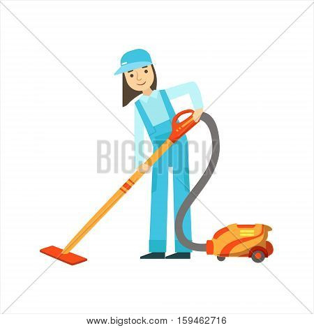 Girl Using The Vacuum Cleaner, Cleaning Service Professional Cleaner In Uniform Cleaning In The Household. Person Working In Housekeeping At Work Doing Clean Up Vector Illustration.