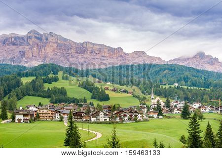 View at the Alta Badia in Dolomites of Italy