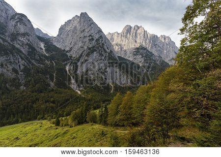 Part of the Wilder Kaiser mountains in Austria in autumn