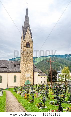 Church with cemetery in San Martino town in Italy