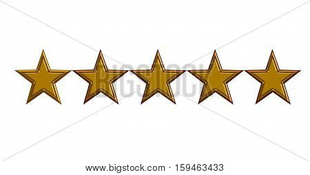 five gold stars on white background. five gold stars 3D illustration.