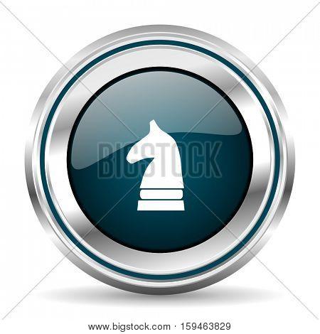Horse chess vector icon. Chrome border round web button. Silver metallic pushbutton.