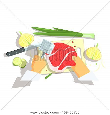 Hands Of Professional Cook Cutting Ingredients For Pork Chop With Onions Cooking. Food Preparation Process In Restaurant Kitchen View From Above Cartoon Illustration.