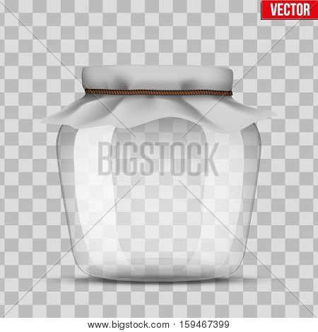 Glass Jar for canning and preserving. With cloth cover. Vector Illustration isolated on transparent background.