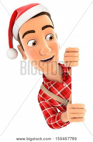 3d handyman with christmas hat peeping over wall illustration with isolated white background