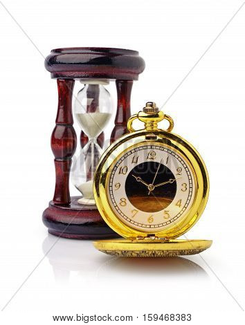 Vintage Golden Pocket Watch And Wooden Hourglass