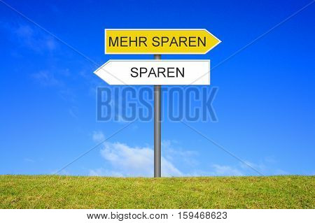 Signpost outside is showing Save money or save more money in german language
