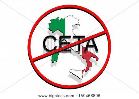 Anty Ceta - Comprehensive Economic And Trade Agreement On White Background, Italy Map