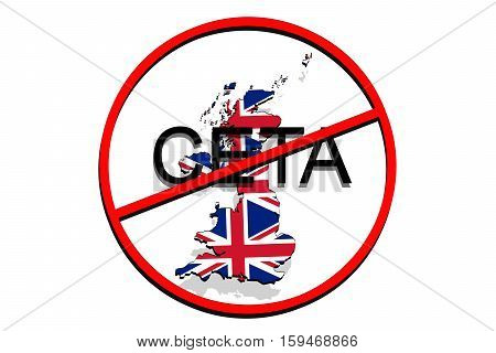 Anty Ceta - Comprehensive Economic And Trade Agreement On White Background, United Kingdom Map