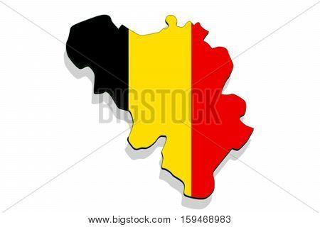 Close Up On Belgium Map On White Background