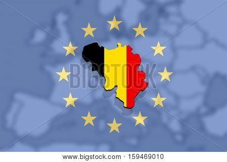 Close Up On Belgium Map On Europe And Euro Union Background