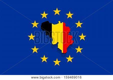 Close Up On Belgium Map On  Euro Union Background