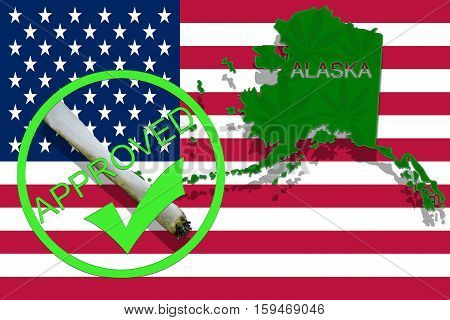 Alaska On Cannabis Background. Drug Policy. Legalization Of Marijuana On Usa Flag,