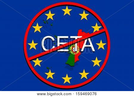 Anty Ceta - Comprehensive Economic And Trade Agreement On Euro Union Background, Portugal Map