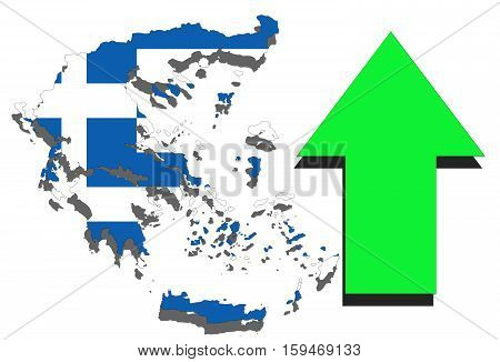 Greece Map On White Background And Green Arrow Rising