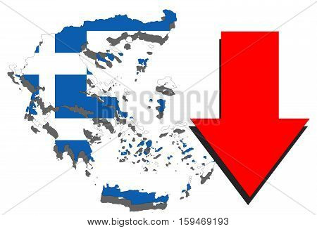 Greece Map On White Background And Red Arrow Down