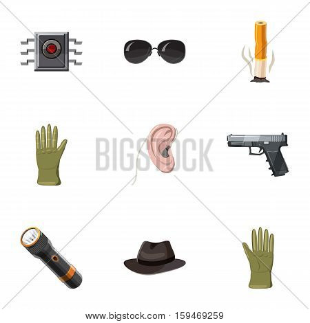 Secret agent icons set. Cartoon illustration of 9 secret agent vector icons for web
