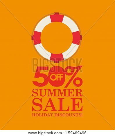 summer sale 50 discounts with life buoy vector illustration eps 10