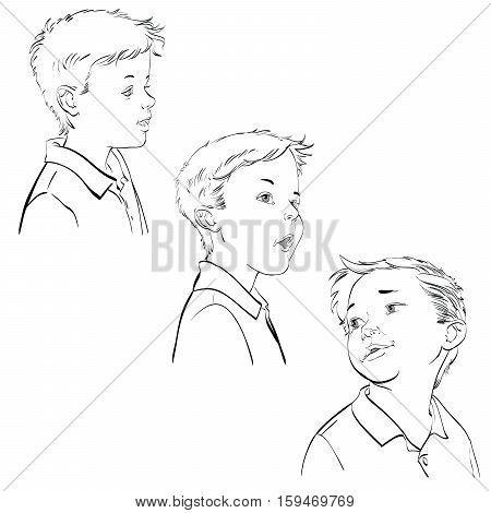 Three emotions of the boy, hand drawn vector illustration. The young man. Black and white image
