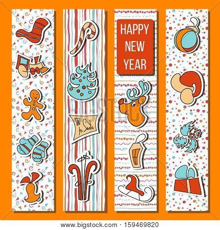 Happy New Year time set in stripes. Four boarded vertical stripes with deer bell toy gingerbread candy cane fir socks lantern. For greetings postcard banner elements for prints decoration
