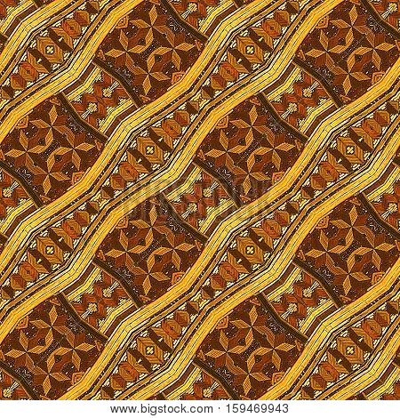Wooden seamless vintage pattern of zigzag stripes and stars. Wooden inlaid brown and gold floor with stars