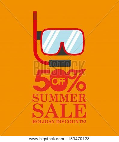 summer sale 50 discounts with snorkeling vector illustration eps 10