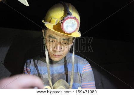 BARTIN-APRIL 5, 2014 : Unidentified Chinese mine workers began working in Turkey on April 5, 2014 in Bartin,Turkey.
