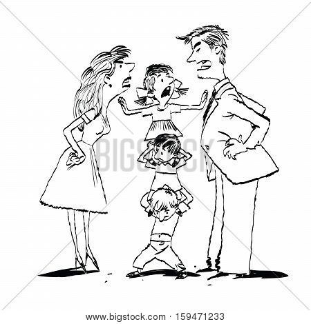 Quarrel in the family, mom and dad fighting, kids calm, hand drawn vector illustration. Black and white illustration