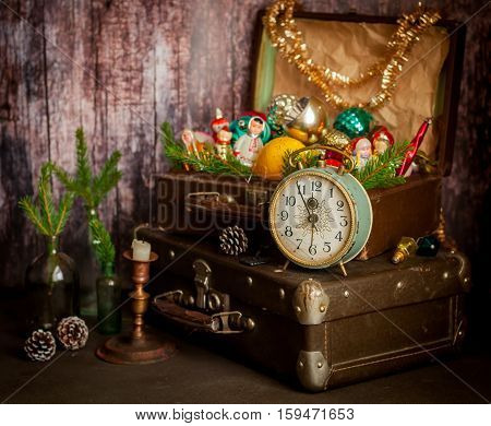 Retro Clock, Suitcases, Christmas Tree Decorations