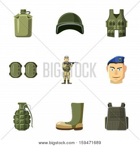 Equipment for war icons set. Cartoon illustration of 9 equipment for war vector icons for web
