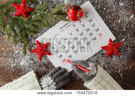 Calendar Or Christmas Day With Note Text Of Holiday ,concept For Christmas And New Year