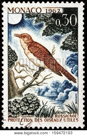 LUGA RUSSIA - NOVEMBER 29 2016: A stamp printed by MONACO shows thrush nightingale (Luscinia luscinia) also known as sprosser or chat - a small passerine bird circa 1962