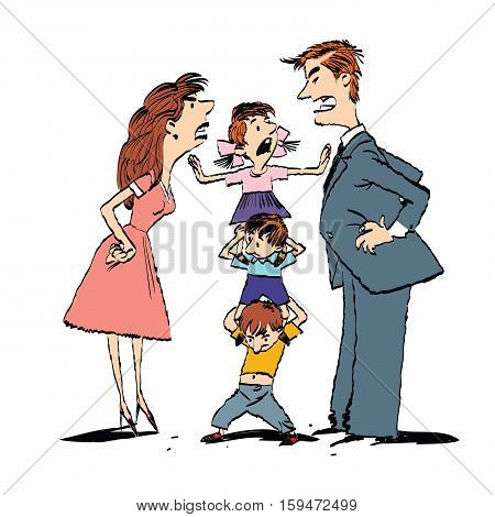 Quarrel in the family, mom and dad fighting, kids calm, hand drawn vector illustration. Color illustration