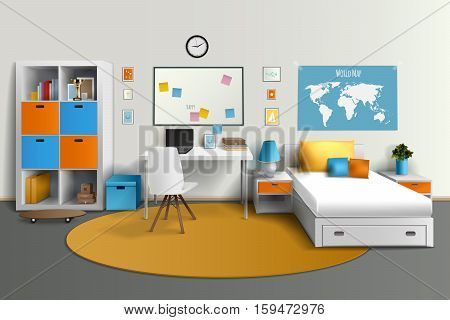 Young teenager room interior design with bed computer table and whiteboard studyspace realistic side view image vector illustration