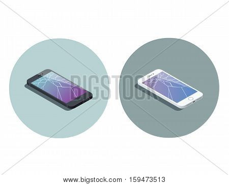 Vector isometric illustration of smartphone with broken screen, service for screen repair icon, 3d flat design electronic device object.