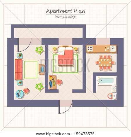 Architectural apartment plan top view with furniture flat vector illustration