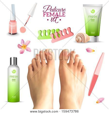 Tools for pedicure and care female feet seashell flower and petals set on white background realistic isolated vector illustration