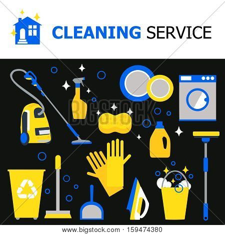Cleaning equipment collection with hoover iron bucket washing machine gloves broom spray sponge mop isolated vector illustration poster