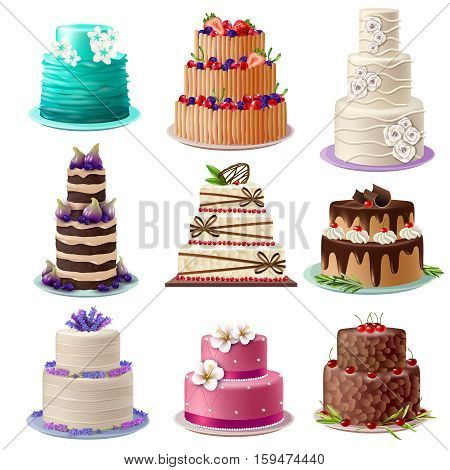 Sweet baked cakes set with colorful different decorated confectioneries and desserts isolated vector illustration